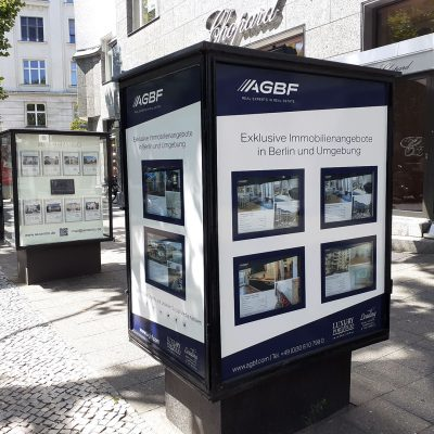 AGBF Vitrine für Exposés Berlin Kurt-Schuhmacher-Damm