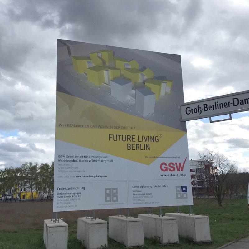 Bauschild mit Unterkonstruktion Stahl und Betonballastierung