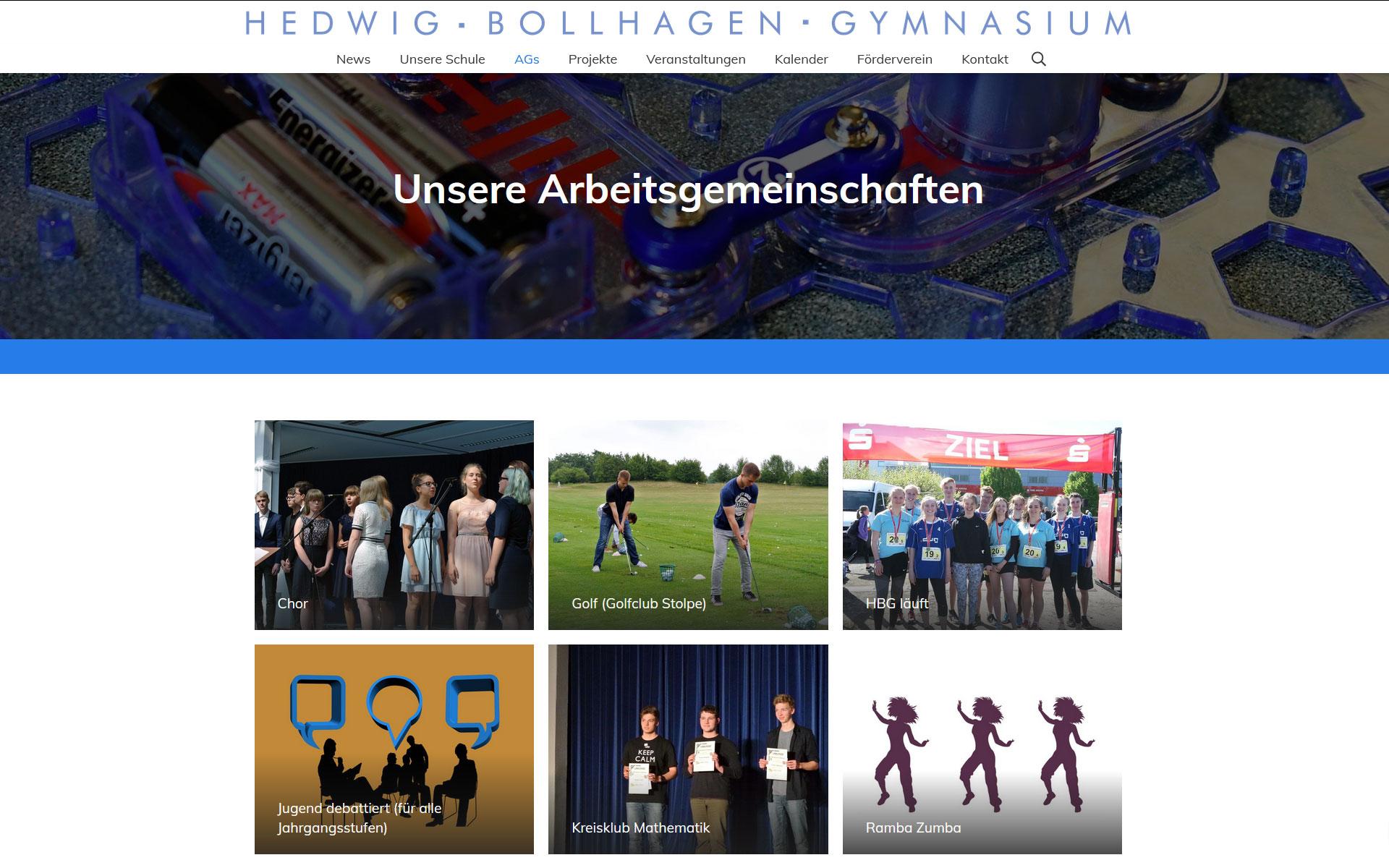 Website für Hedwig-Bollhagen-Gymnasium Velten