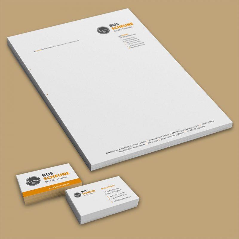 Bus Scheune Corporate Design Printmedien und Druck