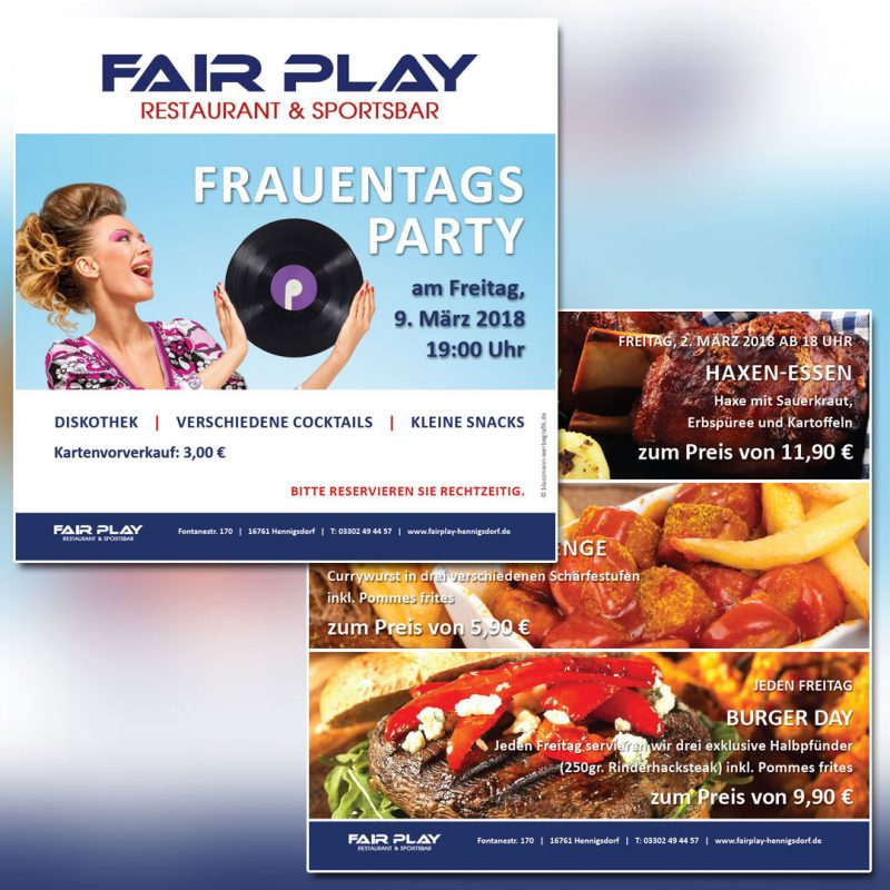 Fair Play Clubhaus Printkampagne Flyer
