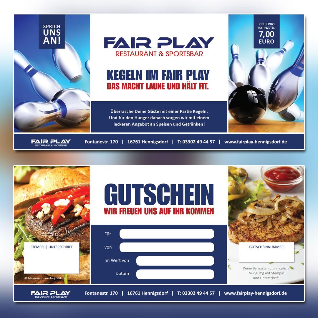 Fair Play Clubhaus Printkampagne Gutscheine