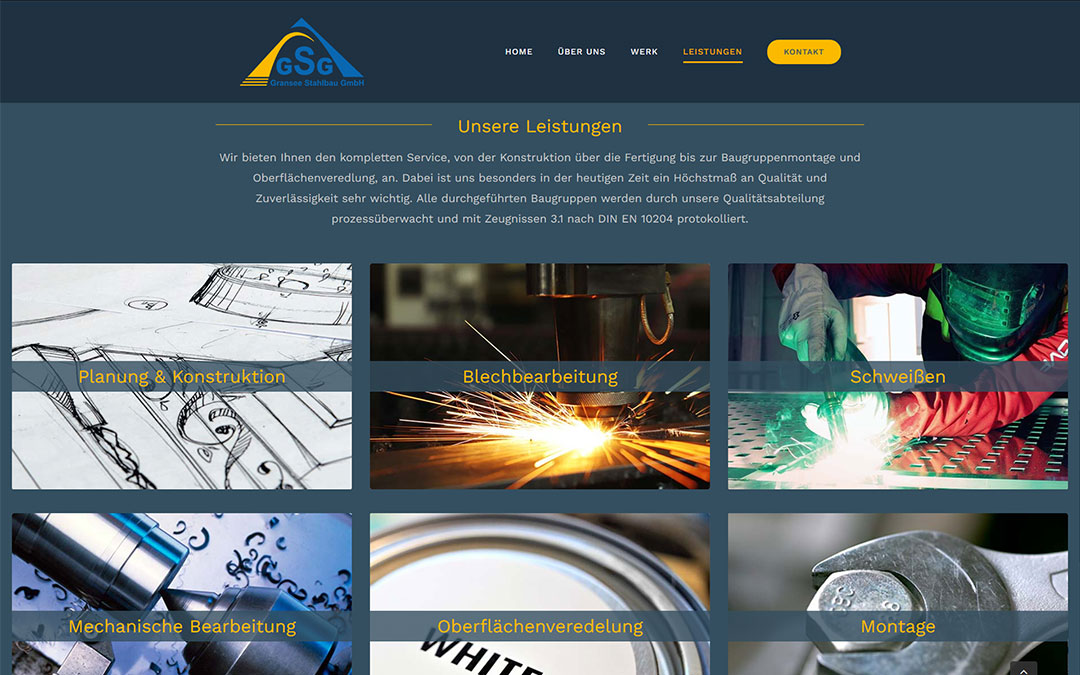GSG Gransee Stahlbau GmbH Webseite Redesign