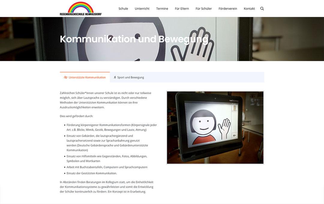 Regenbogenschule Hennigsdorf Website