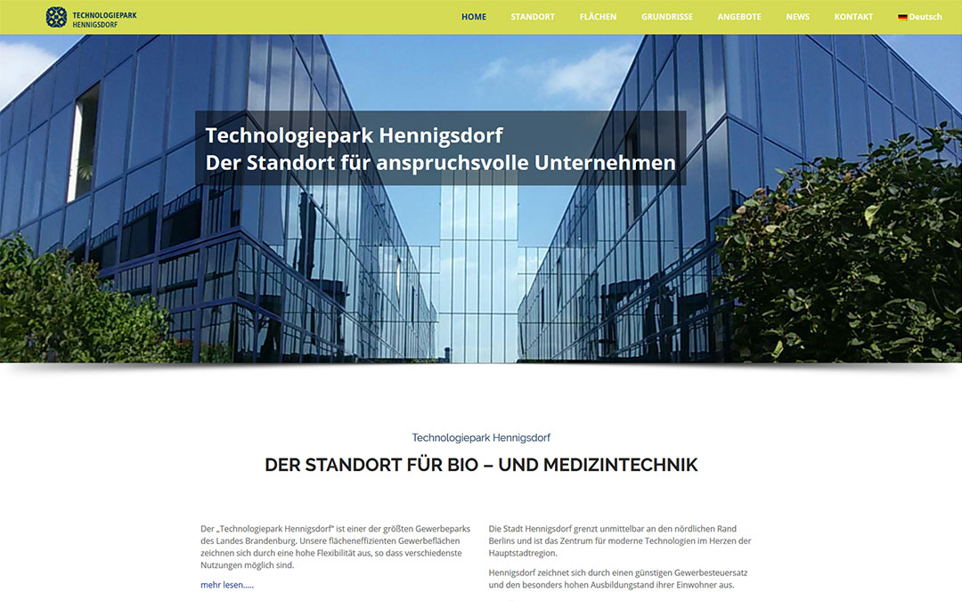 Technologiepark Hennigsdorf Website