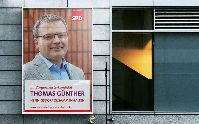 Thomas Günther Bürgermeisterkanditat Wahlkampagne Plakat