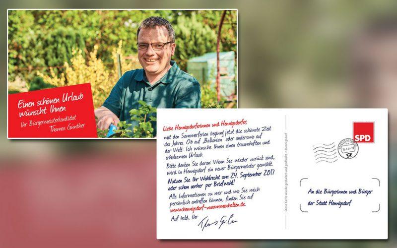 Thomas Günther Bürgermeisterkanditat Wahlkampagne Postkarte