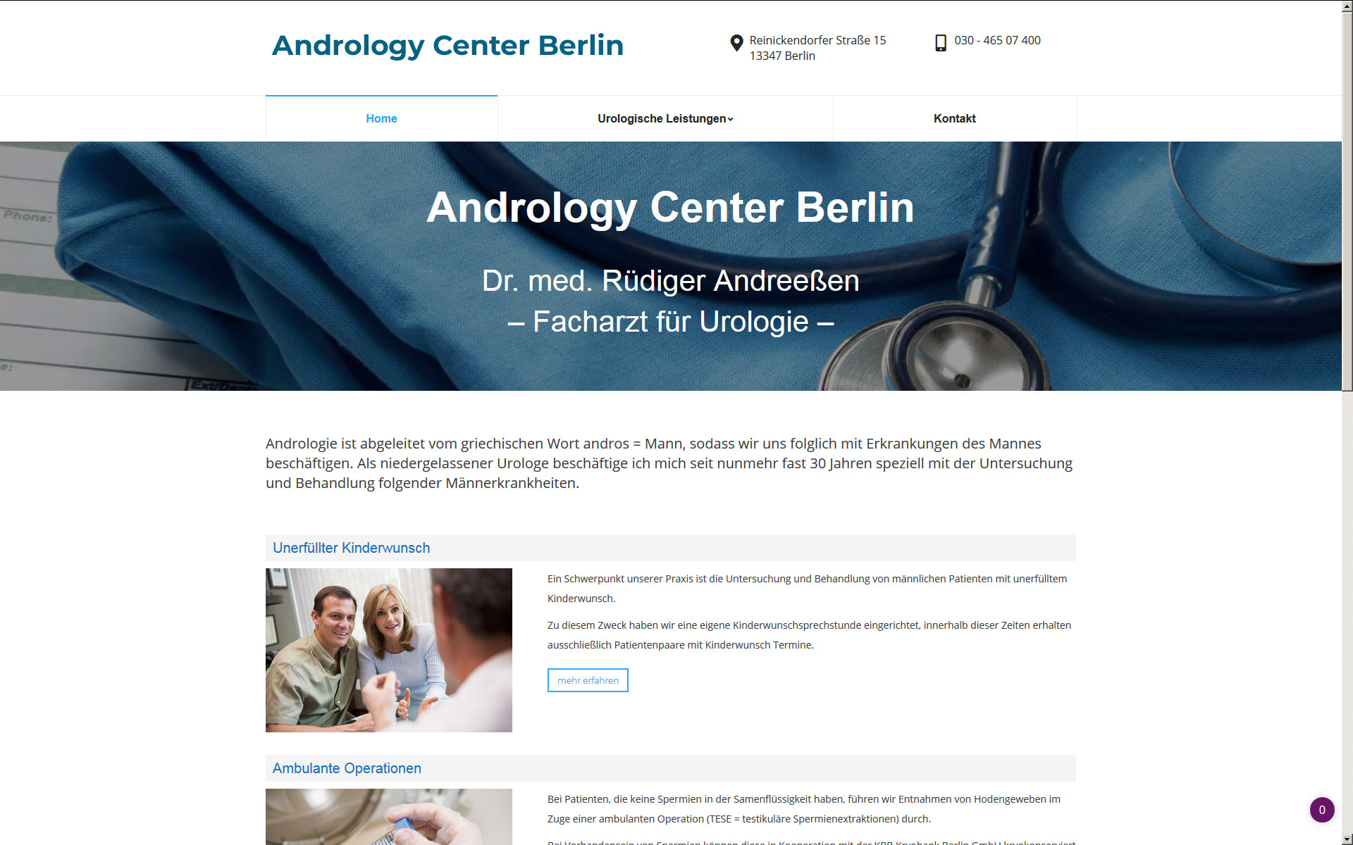 Andrology Center Berlin Website