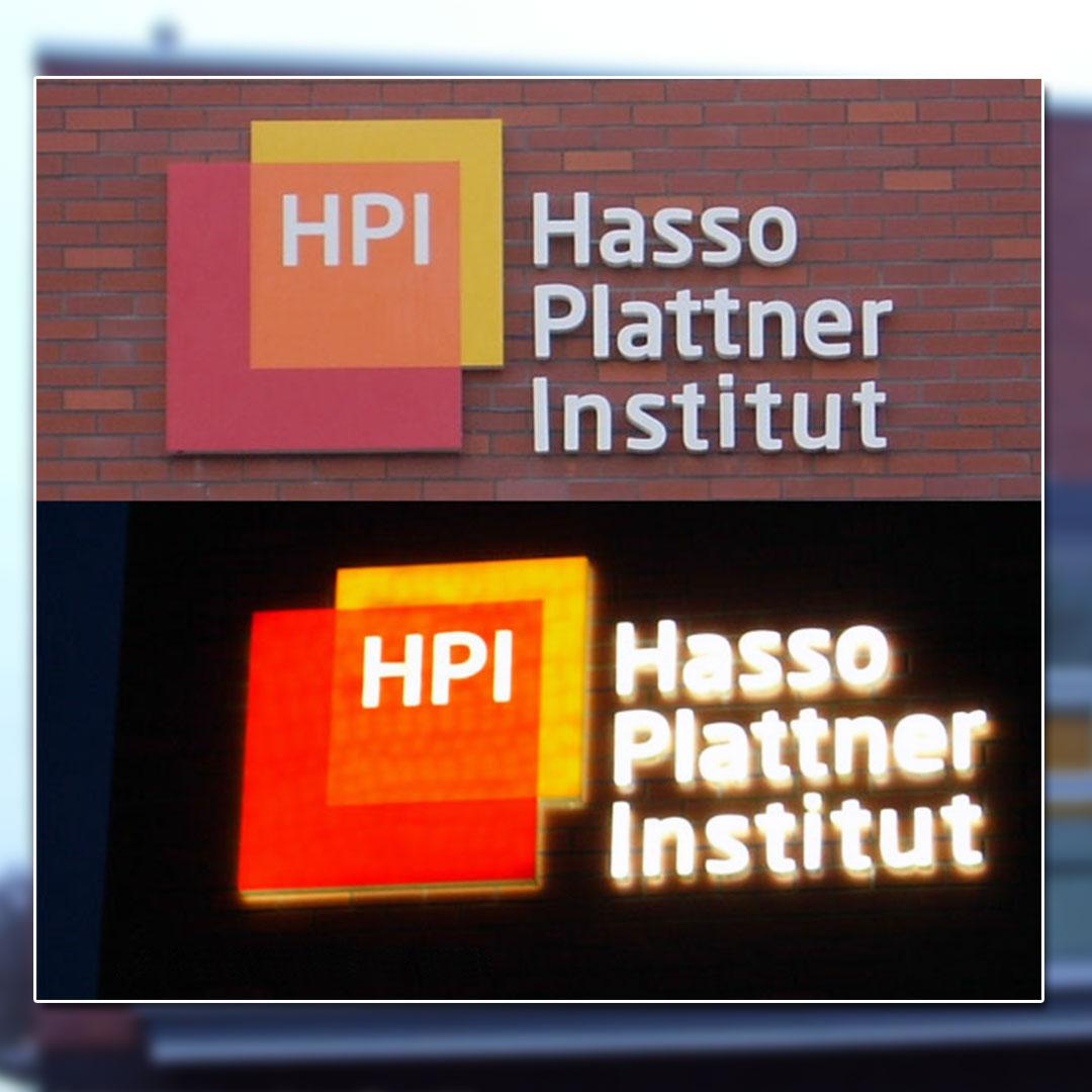 Außenwerbung mit beleuchteten Buchstaben - Hasso Plattner Institut
