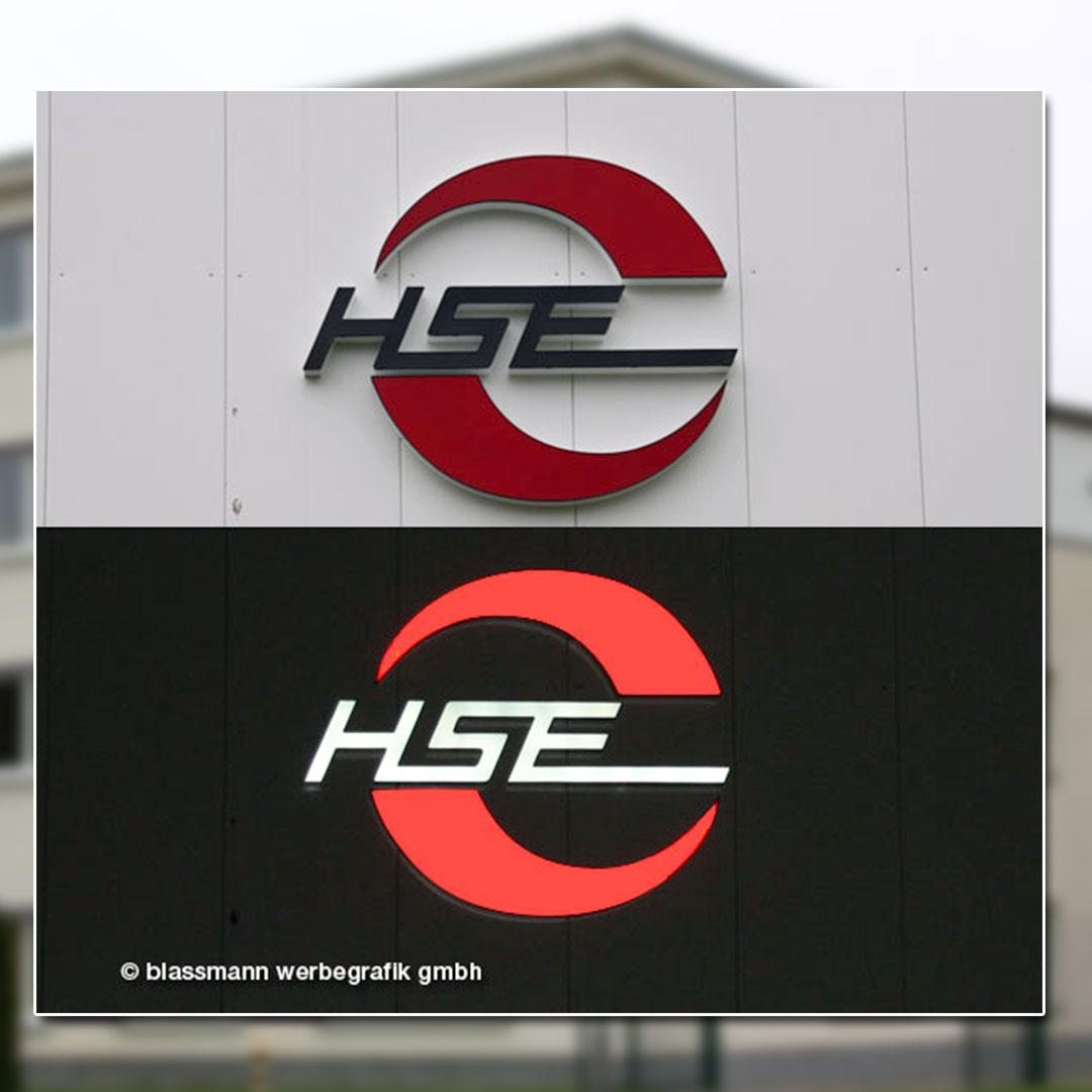 Außenwerbung mit beleuchteten Buchstaben - HSE Hennigsdorf
