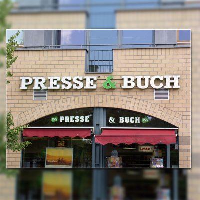 Außenwerbung mit beleuchteten Buchstaben - Presse & Buch