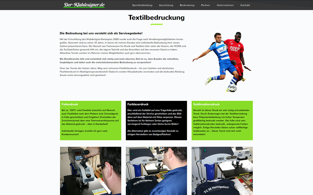 Der Klubdesigner Website